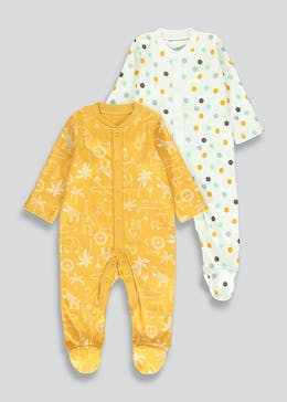 Unisex 2 Pack Jungle Baby Grows (Tiny Baby-18mths)