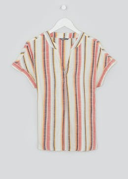Short Sleeve Stripe Grandad Collar Shirt