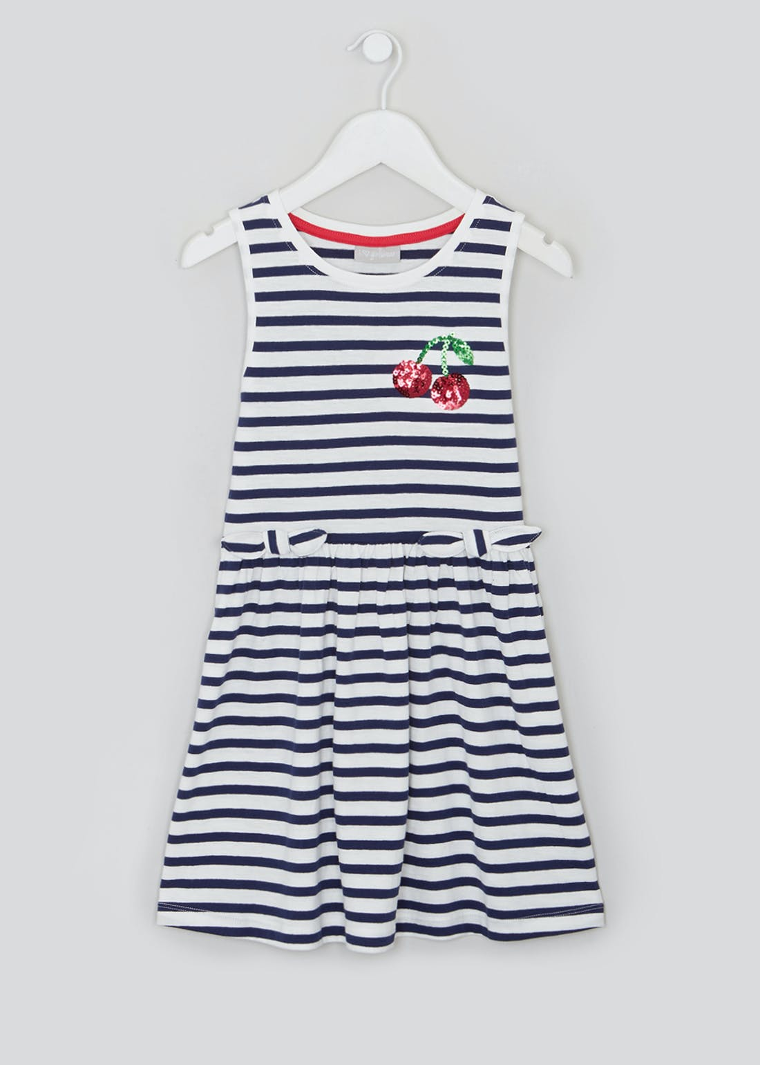 Girls Navy & White Stripe Jersey Dress (4-13yrs)
