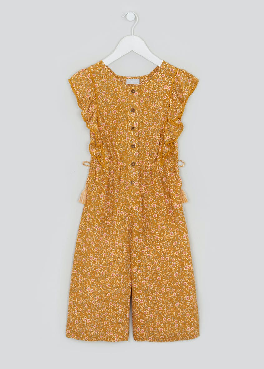 Girls Short Sleeve Floral Jumpsuit (4-13yrs)