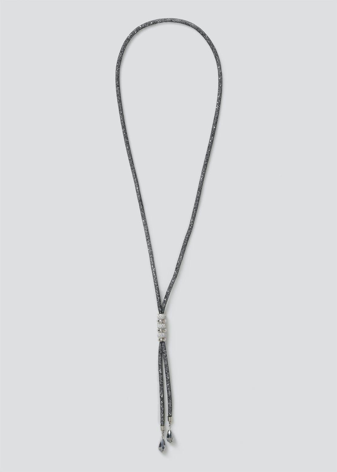 Mesh Shamballa Lariat Necklace