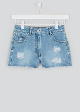 Girls Candy Couture Ripped Denim Mom Shorts (9-16yrs)
