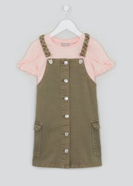 Girls Khaki Denim Pinafore & Top Set (4-13yrs)