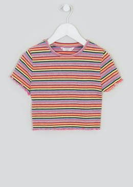 Girls Candy Couture Cropped Stripe T-Shirt (9-16yrs)
