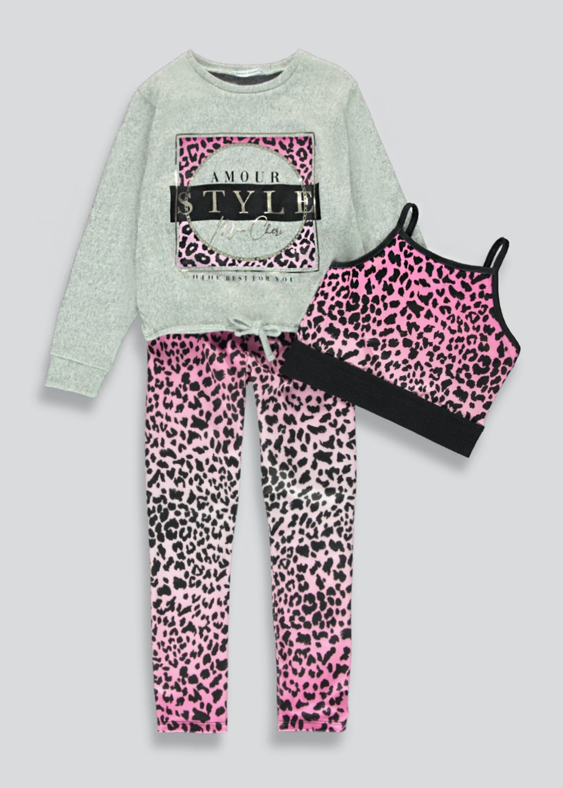Girls 3 Piece Leopard Print Lounge Set (4-13yrs)