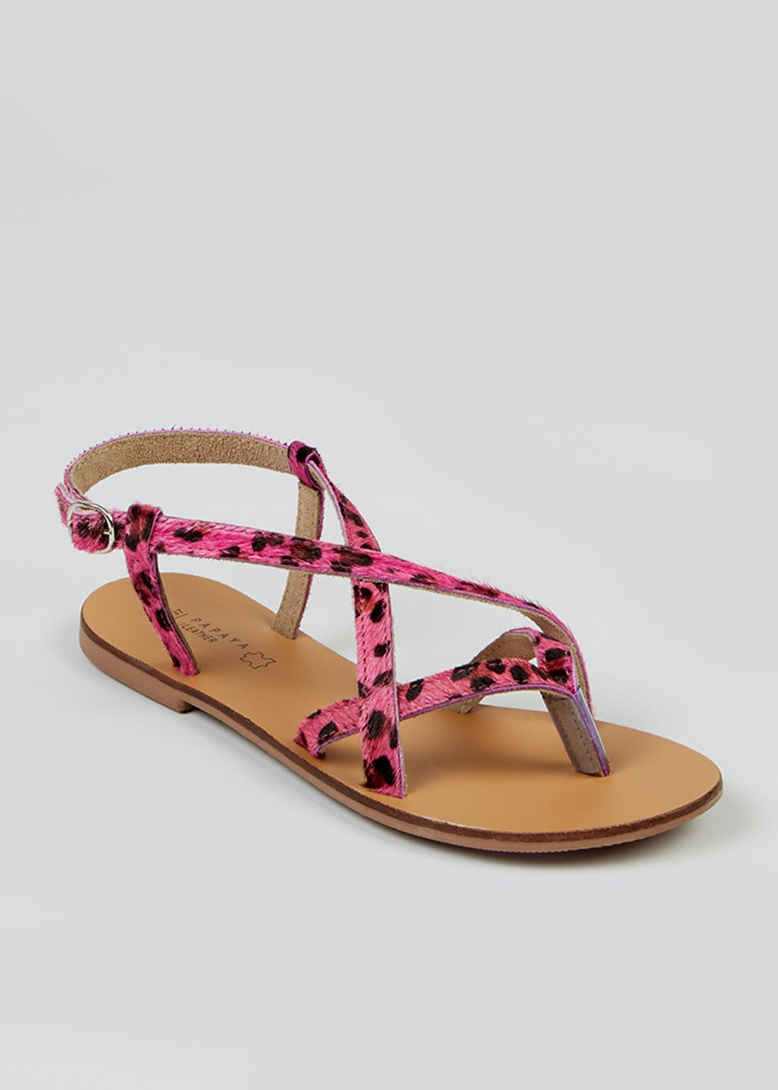 Pink Leopard Print Leather Sandals