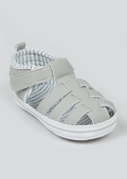 Boys Grey Soft Sole Sandals (Newborn-18mths)