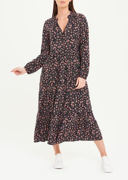 Black Long Sleeve Floral Tiered Midi Dress