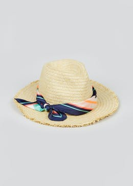 Printed Scarf Straw Hat