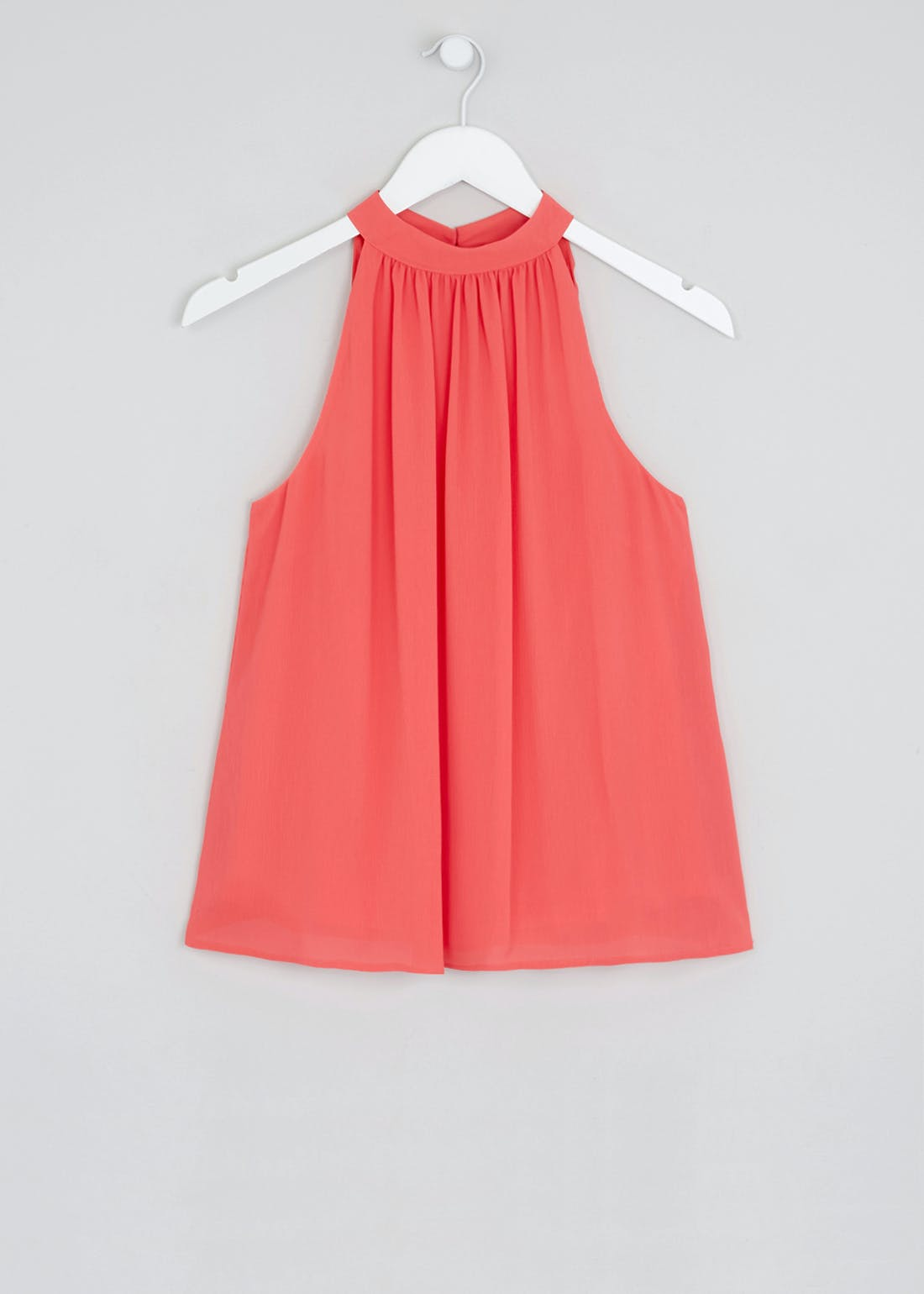 Soon Coral Sleeveless High Neck Blouse
