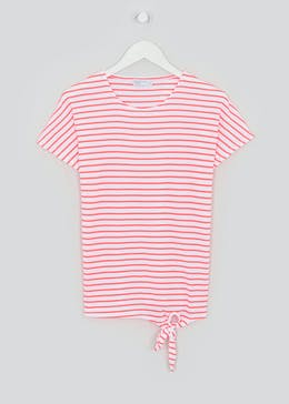 Textured Stripe Tie Front T-Shirt