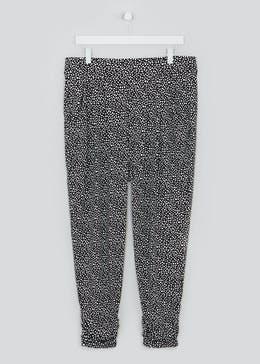 Papaya Curve Dotted Print Harem Trousers