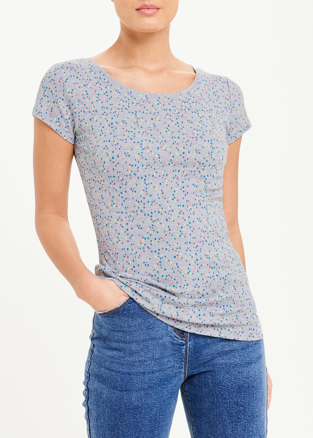 Perfect Short Sleeve Dotted T-Shirt – Grey