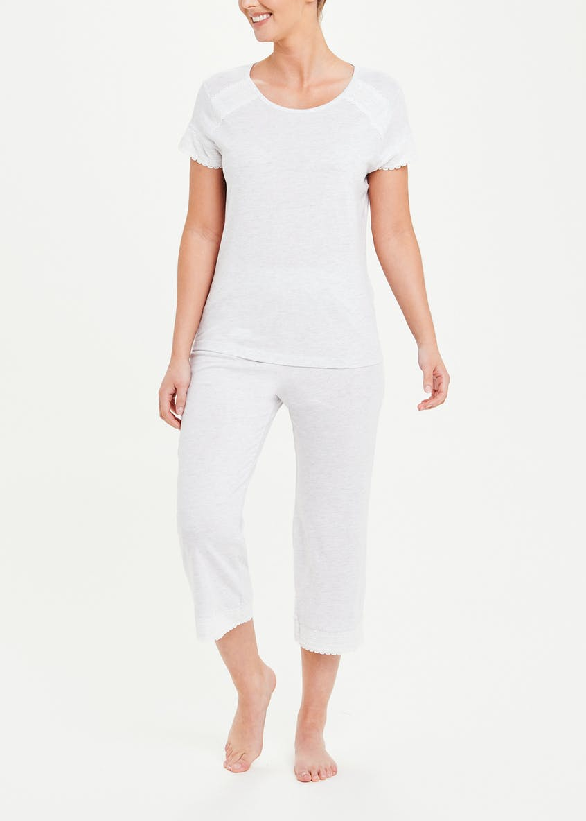 Lace Trim Cotton Modal Pyjama Top