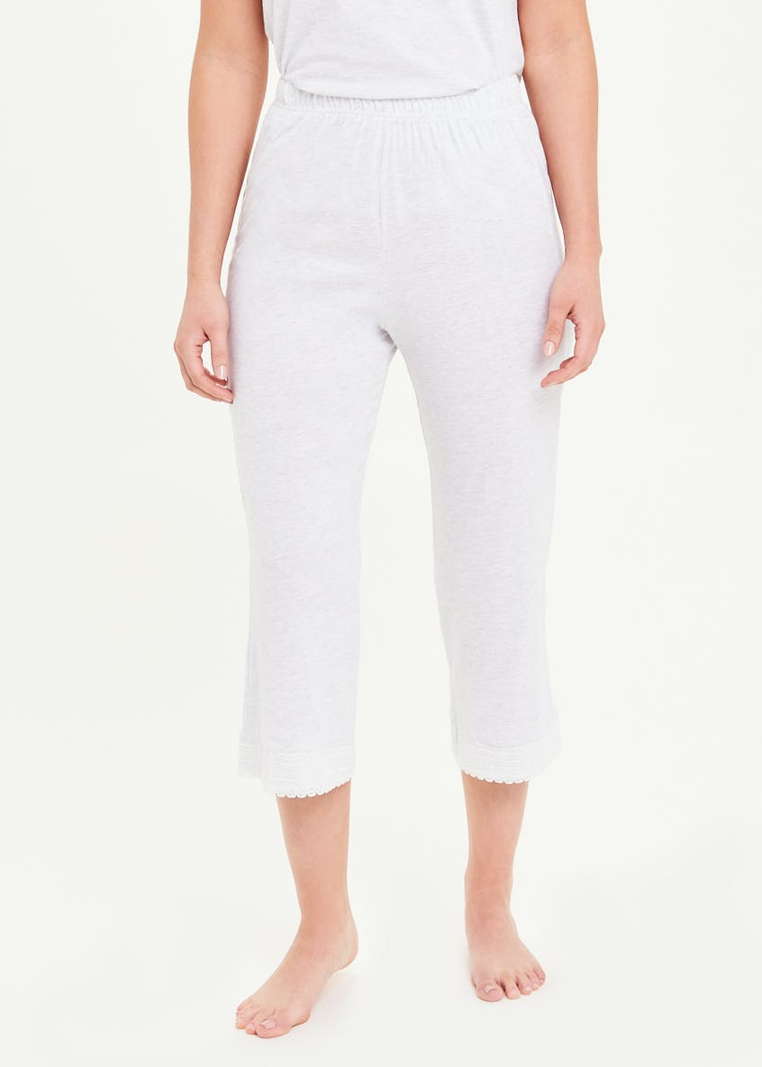 Lace Trim Cotton Modal Cropped Pyjama Bottoms