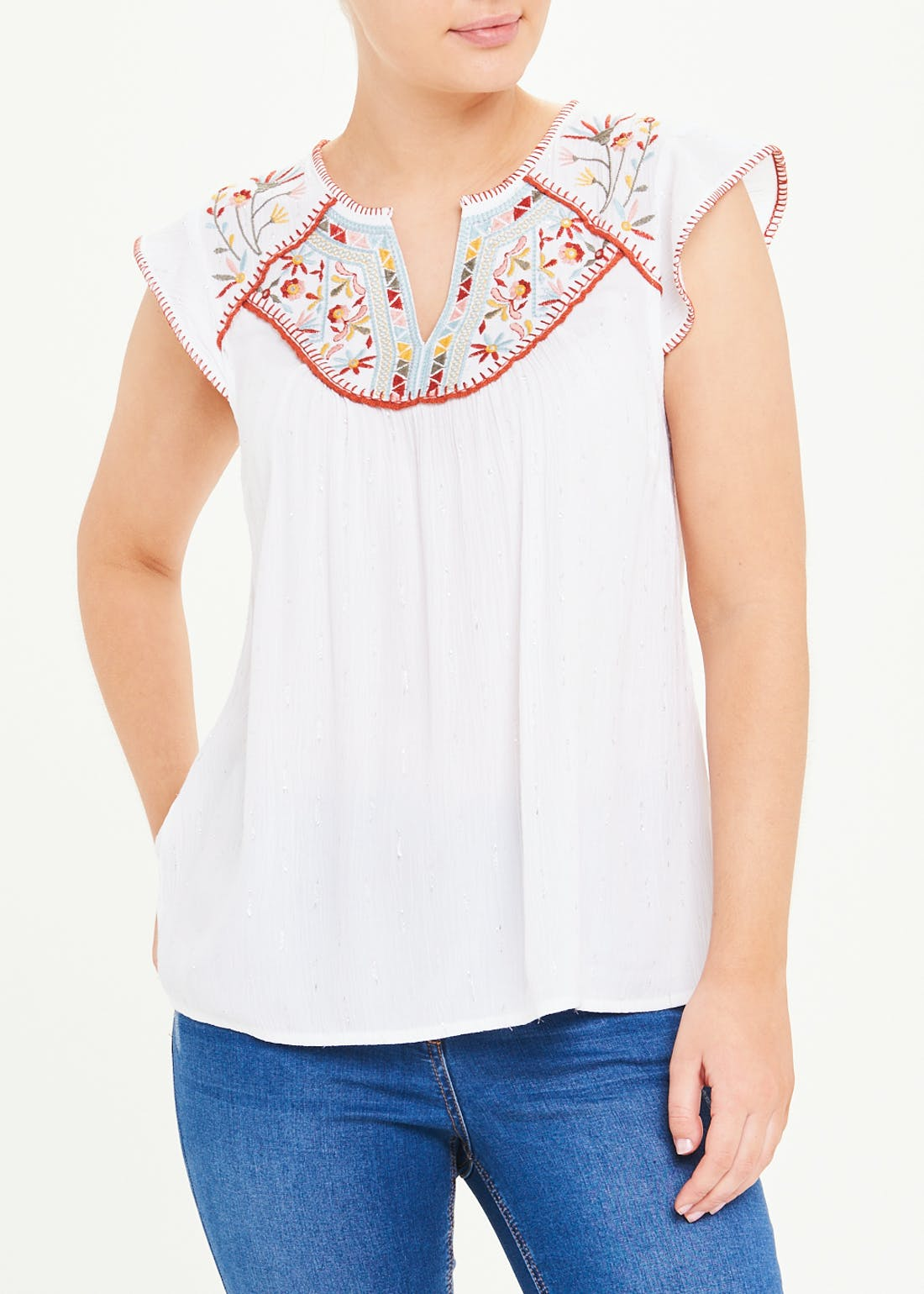 Falmer White Embroidered Yoke Top