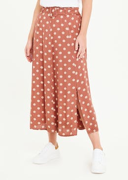 Belted Polka Dot Midi Skirt