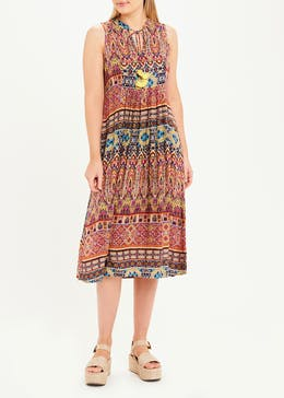 Falmer Sleeveless Printed Tassel Tie Midi Dress