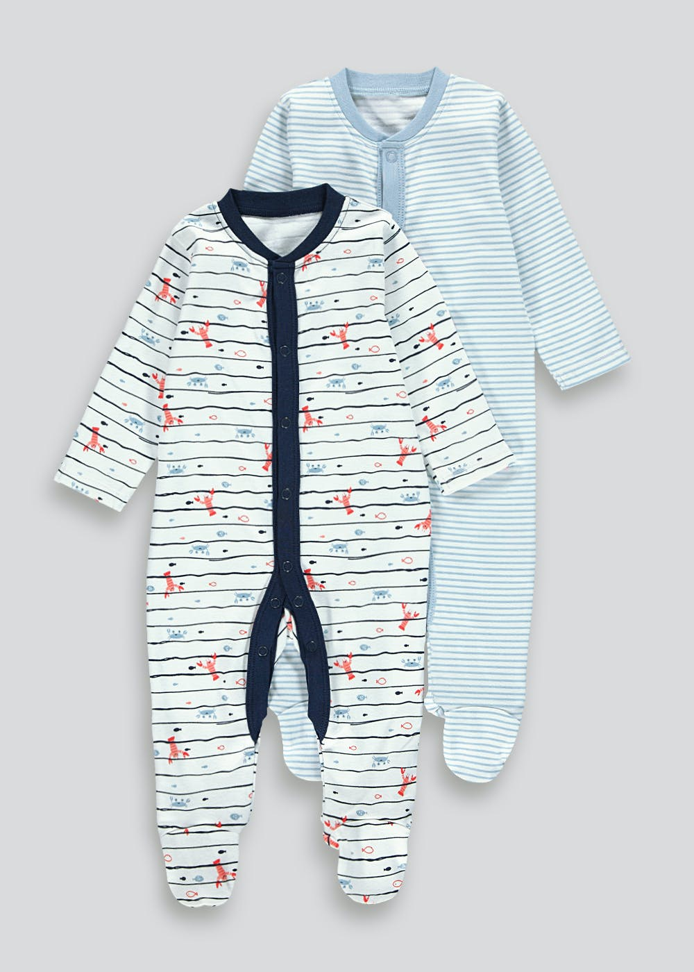Boys 2 Pack Baby Grows (Tiny Baby-18mths) – Blue
