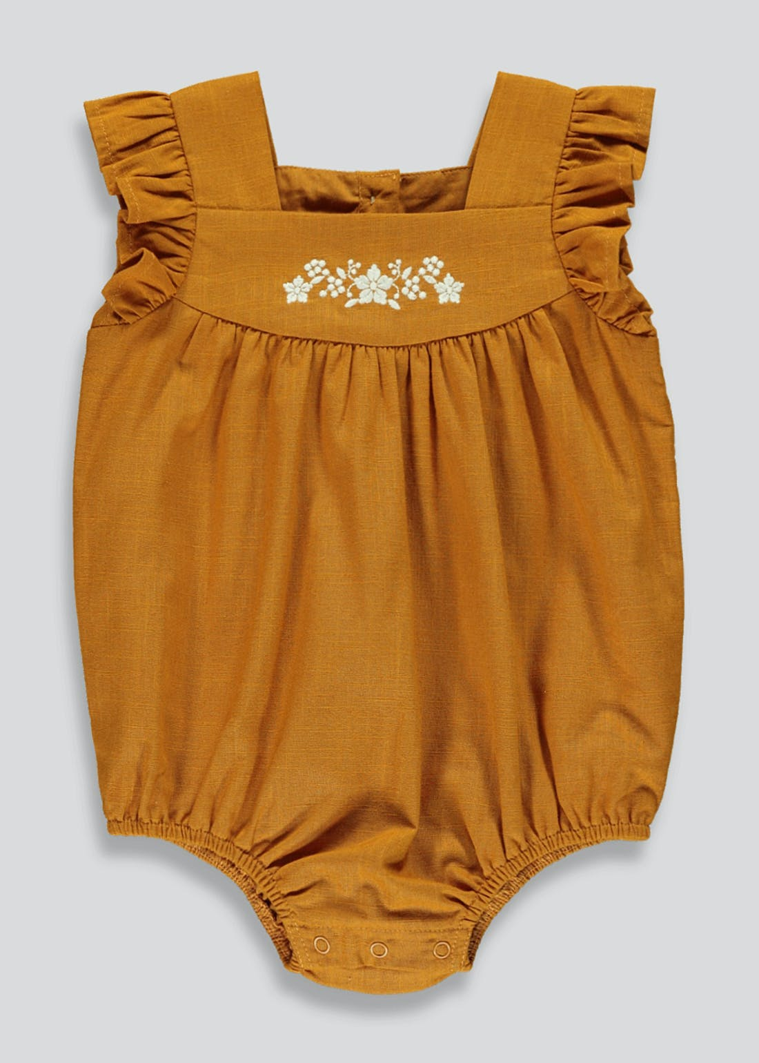 Girls Embroidered Floral Cotton Romper (Newborn-23mths)