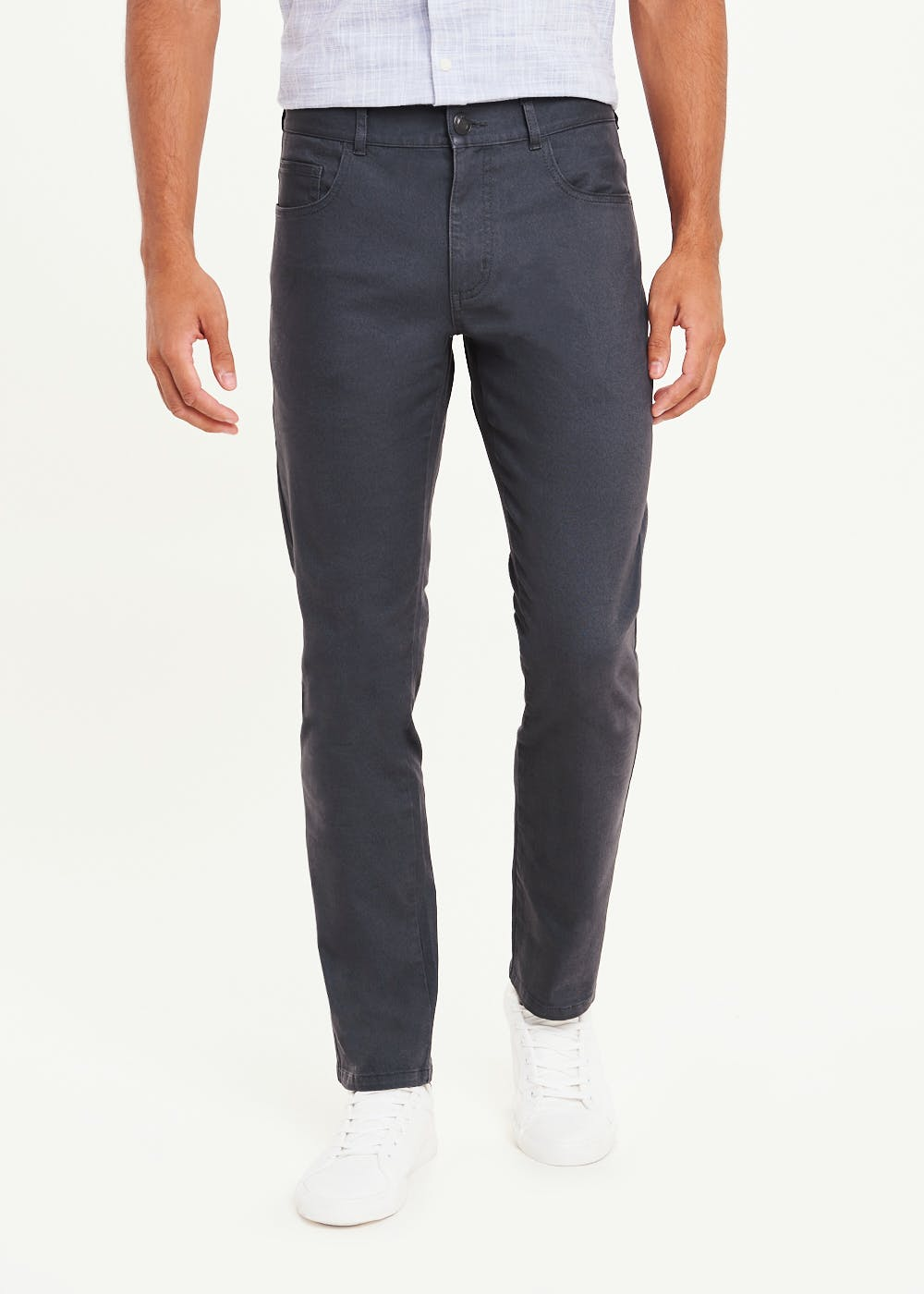 Slim Fit Twill Trousers – Charcoal