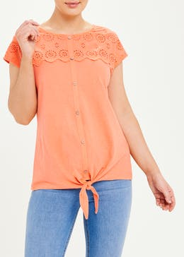 Broderie Button Front T-Shirt