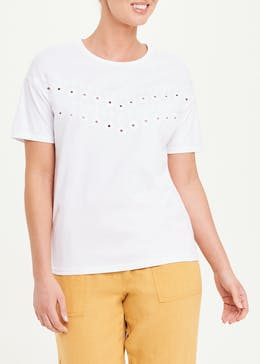 Embroidered Cut Out T-Shirt