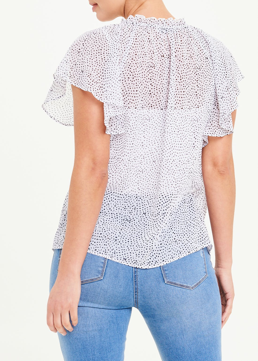 Angel Sleeve Dotted Sheer Ruffle Blouse
