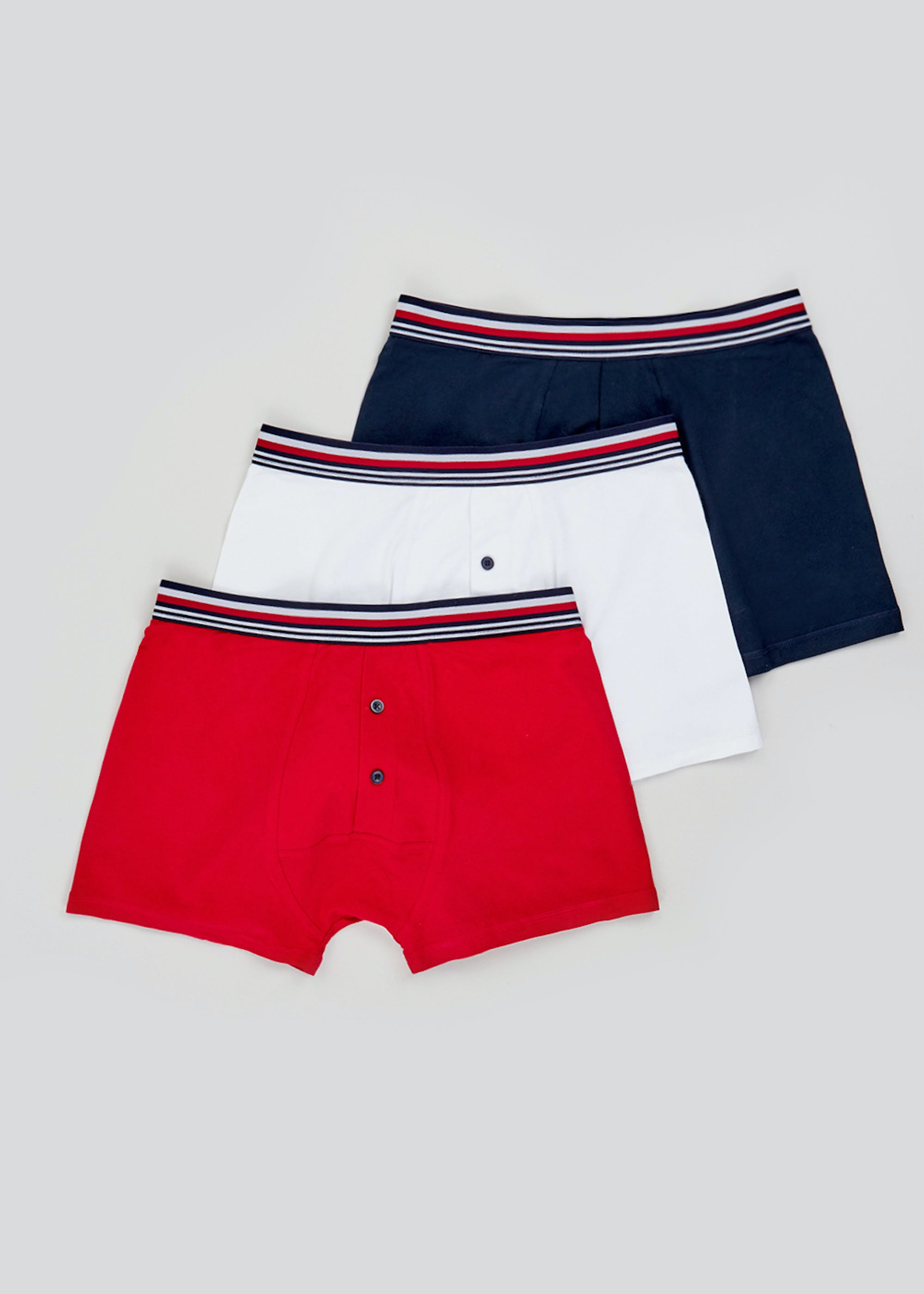 3 Pack Button Front Boxers Multi kDooyA