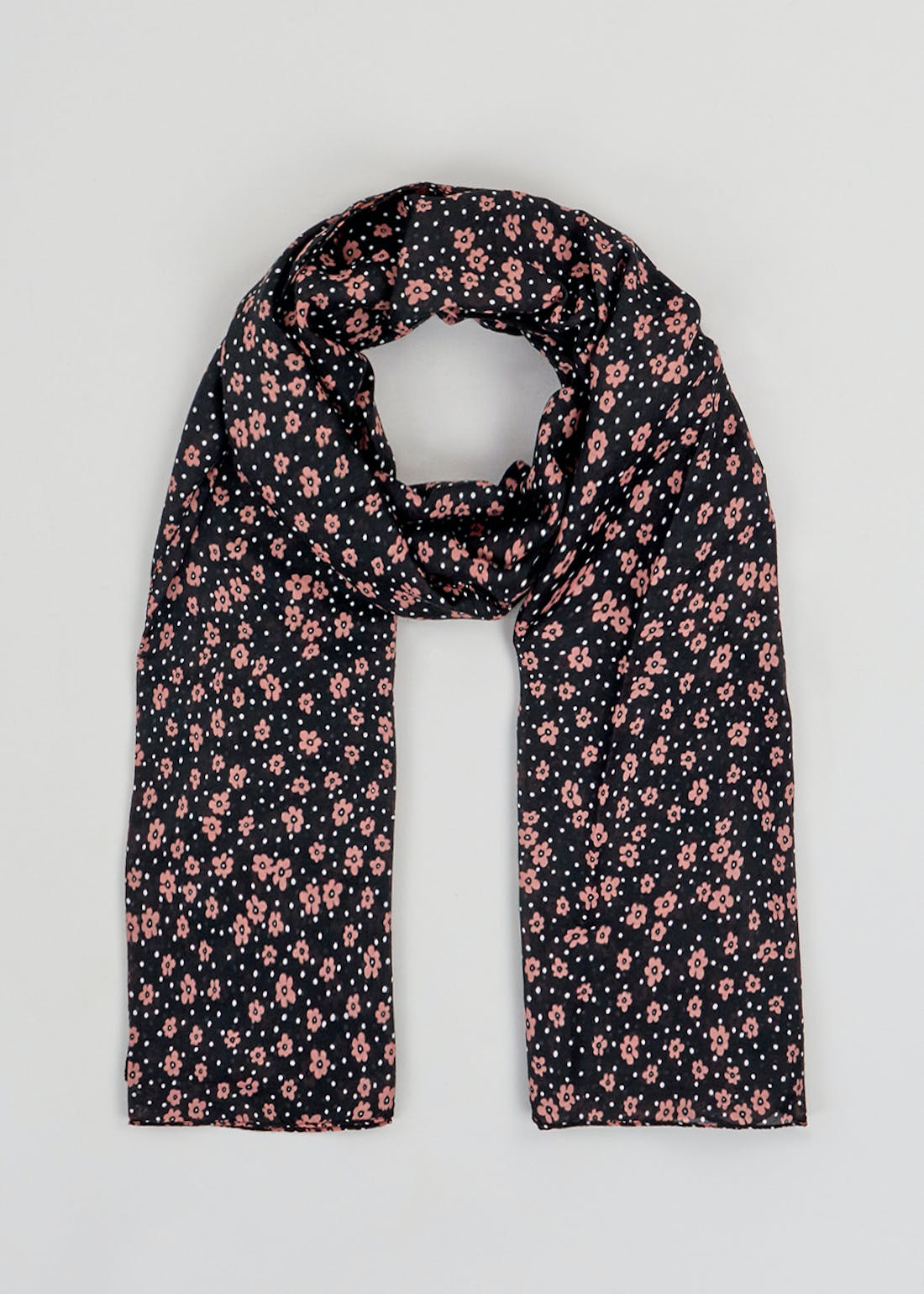 Dotted Floral Woven Scarf