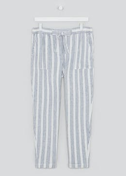 Papaya Petite Stripe Tapered Linen Trousers