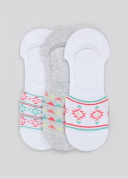 3 Pack Aztec Print Invisible Socks