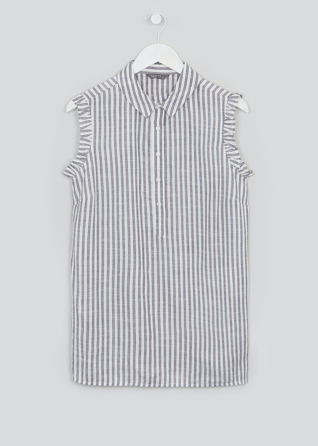 Sleeveless Stripe Frill Trim Shirt