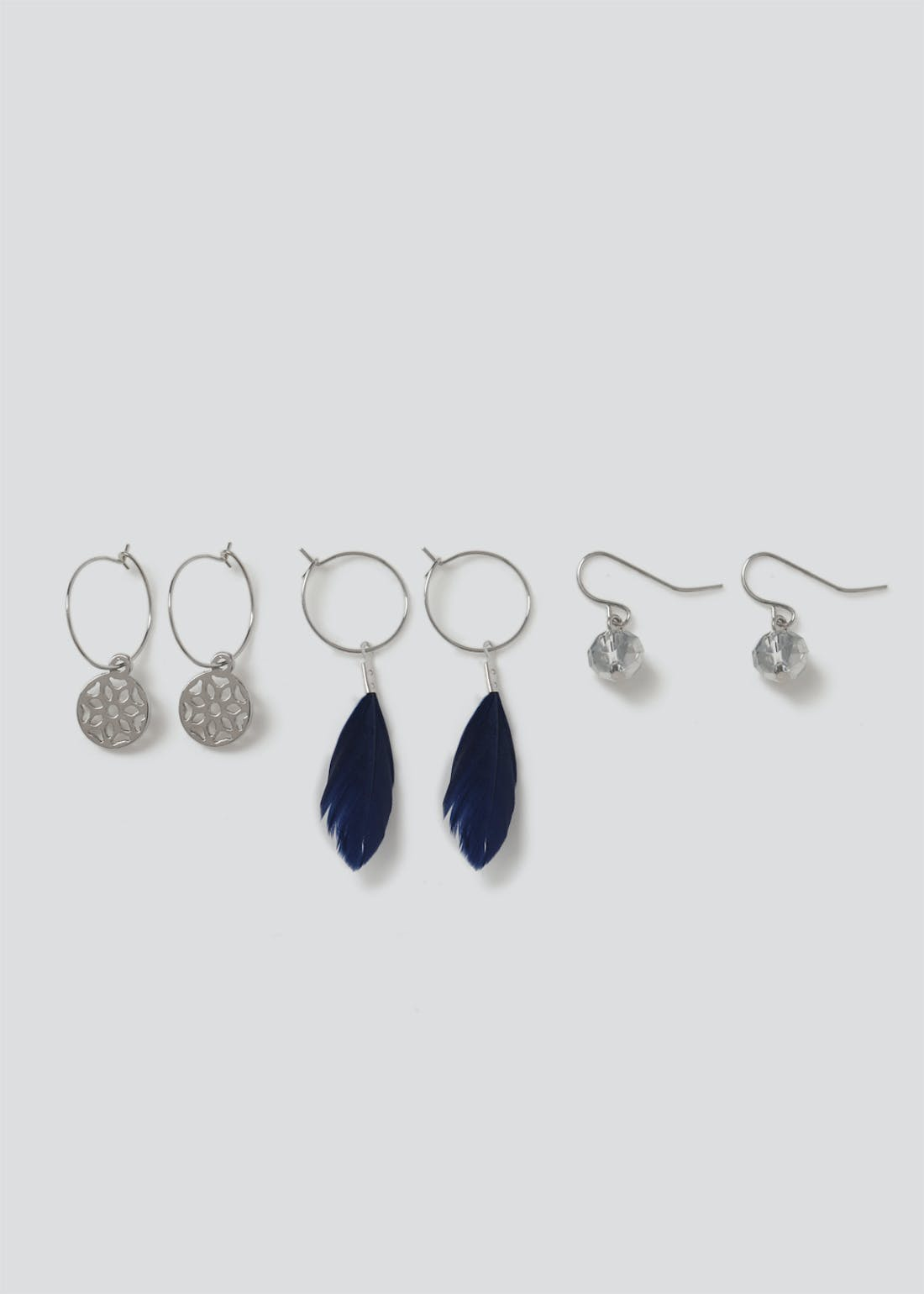 3 Pack Navy Feather Mix Earrings