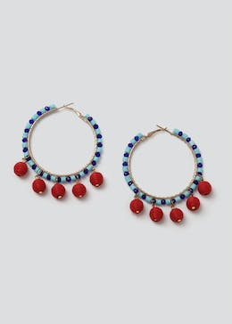Beaded Ball Drop Hoop Earrings