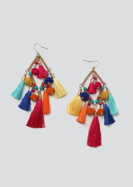 Oversized Diamond Tassel Earrings