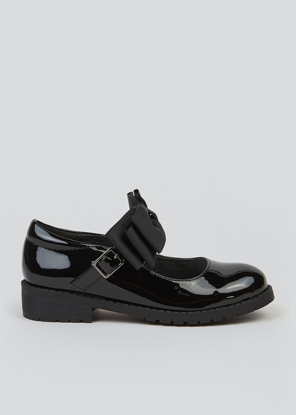 Girls Black Bow School Shoes (Younger