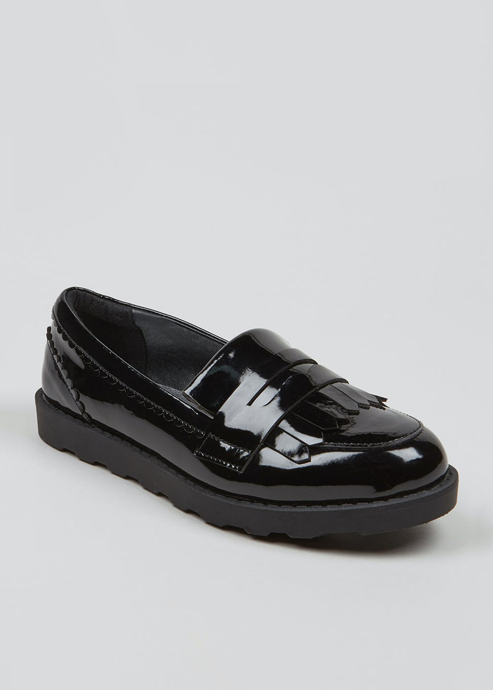 Girls Black Patent Loafer School Shoes