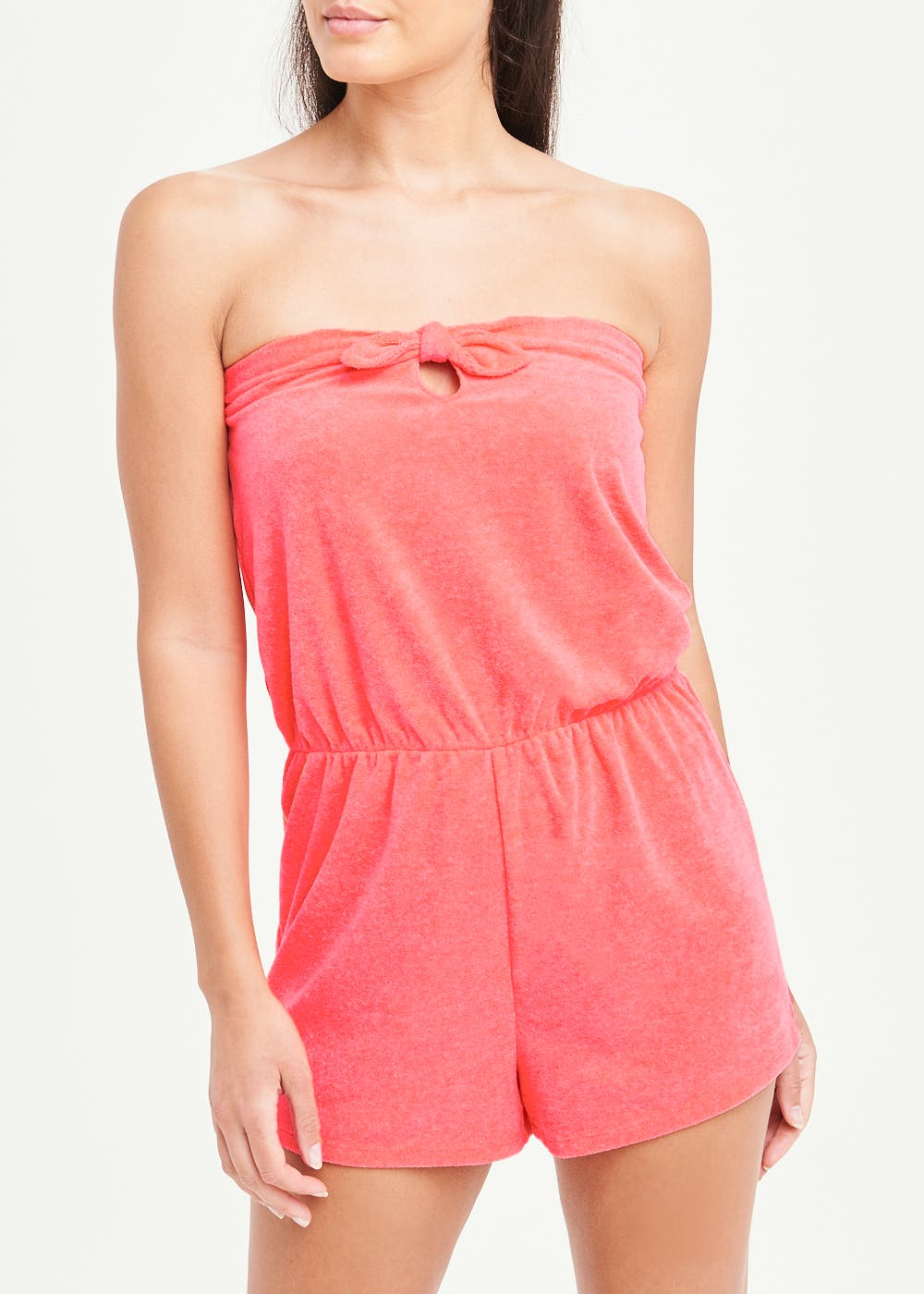 Towelling Playsuit – Coral
