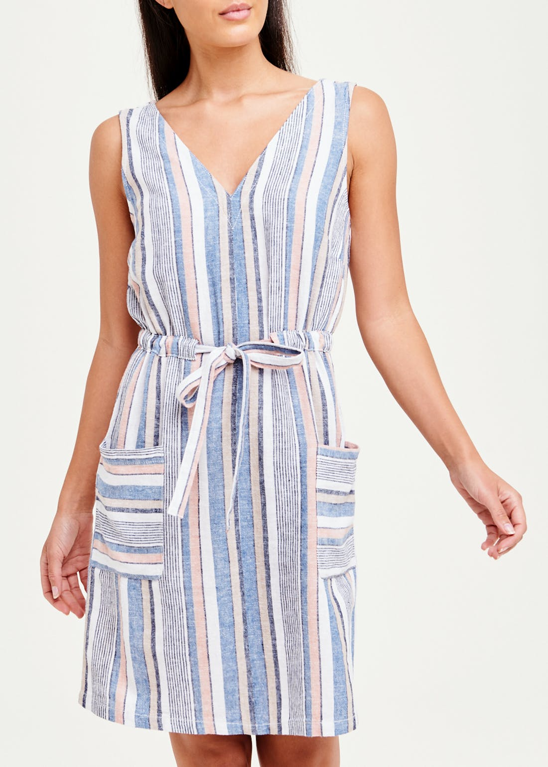Sleeveless Stripe Tie Waist Linen Dress