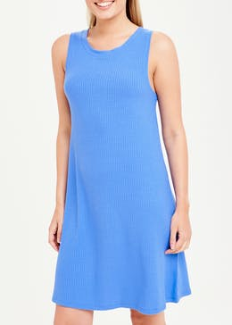 Blue Sleeveless Ribbed Jersey Swing Dress