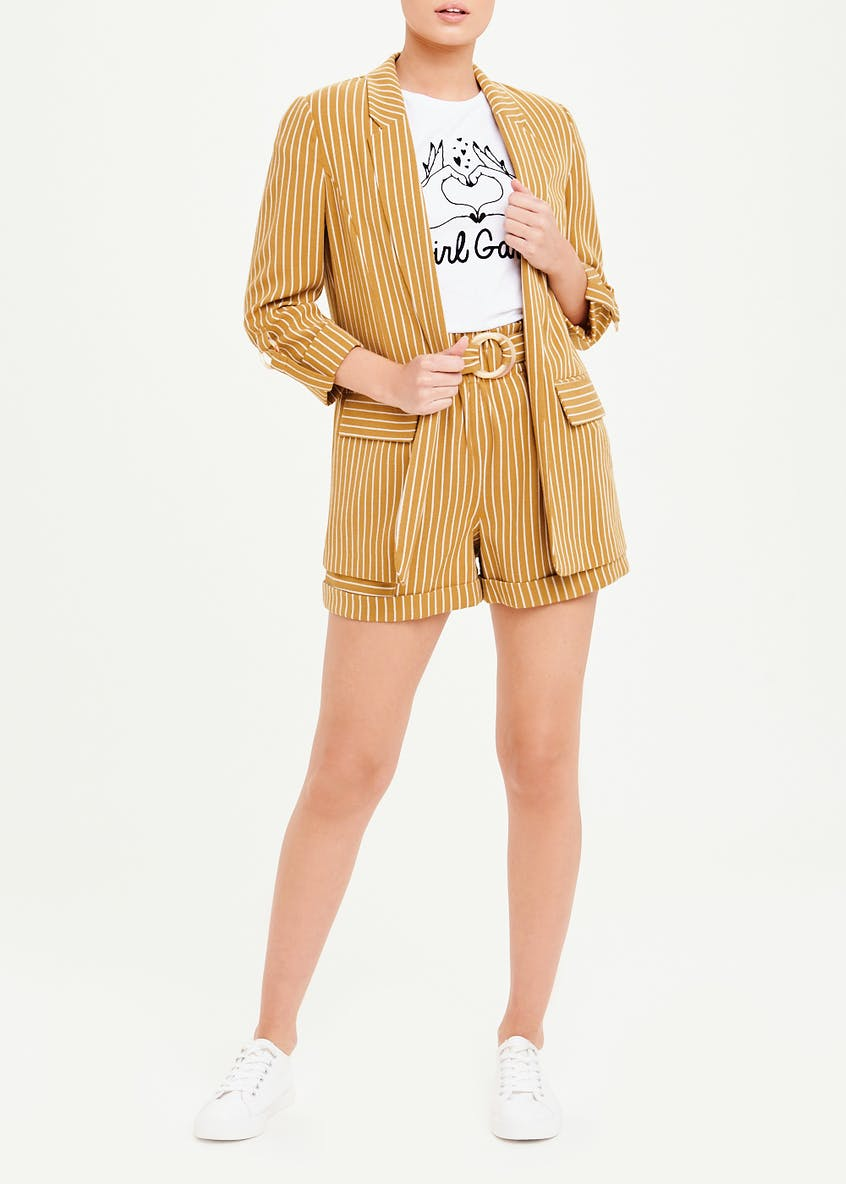 Stripe Ring Sleeve Blazer