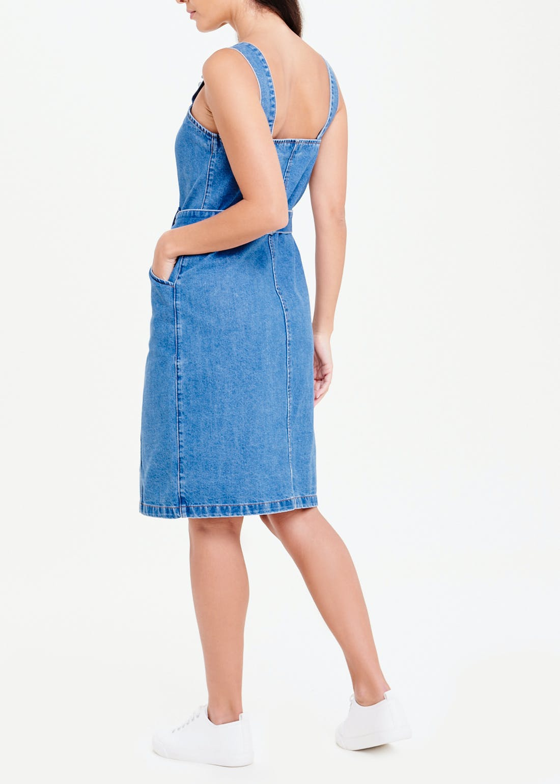 Sleeveless Tie Waist Denim Dress