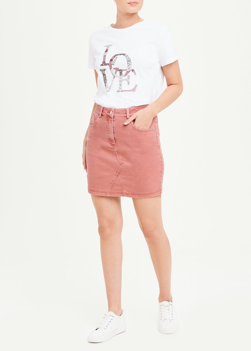 Pink Denim Mini Skirt
