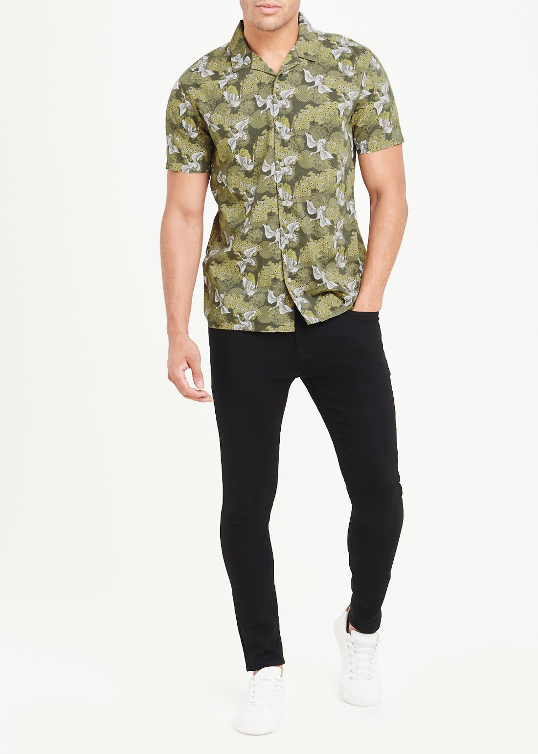 Short Sleeve Crane Print Shirt