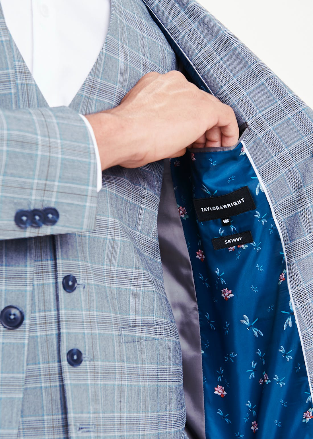 Taylor & Wright Blane Skinny Fit Check Suit Jacket
