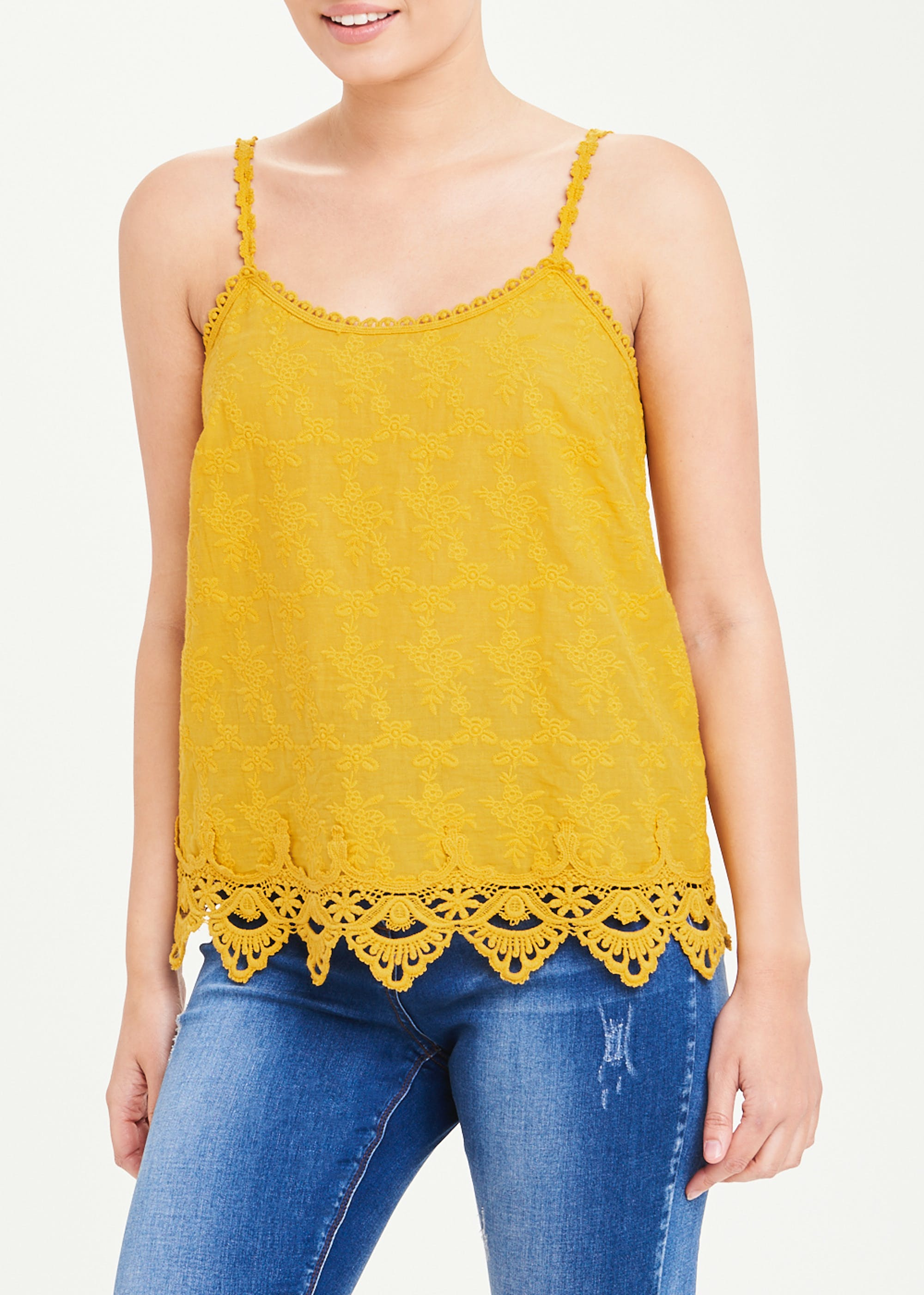 Falmer Embroidered Lace Trim Cami Top Yellow 3iq4rE