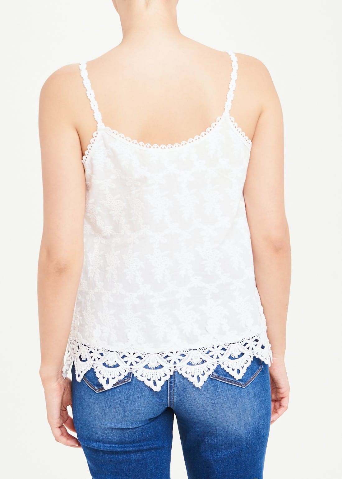 Falmer Embroidered Lace Trim Cami Top