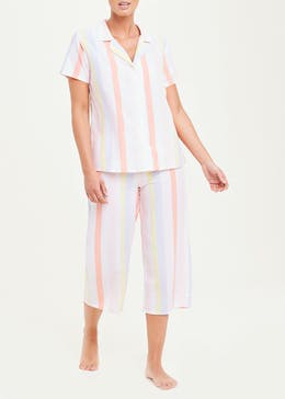 Stripe Button Through Capri Pyjamas