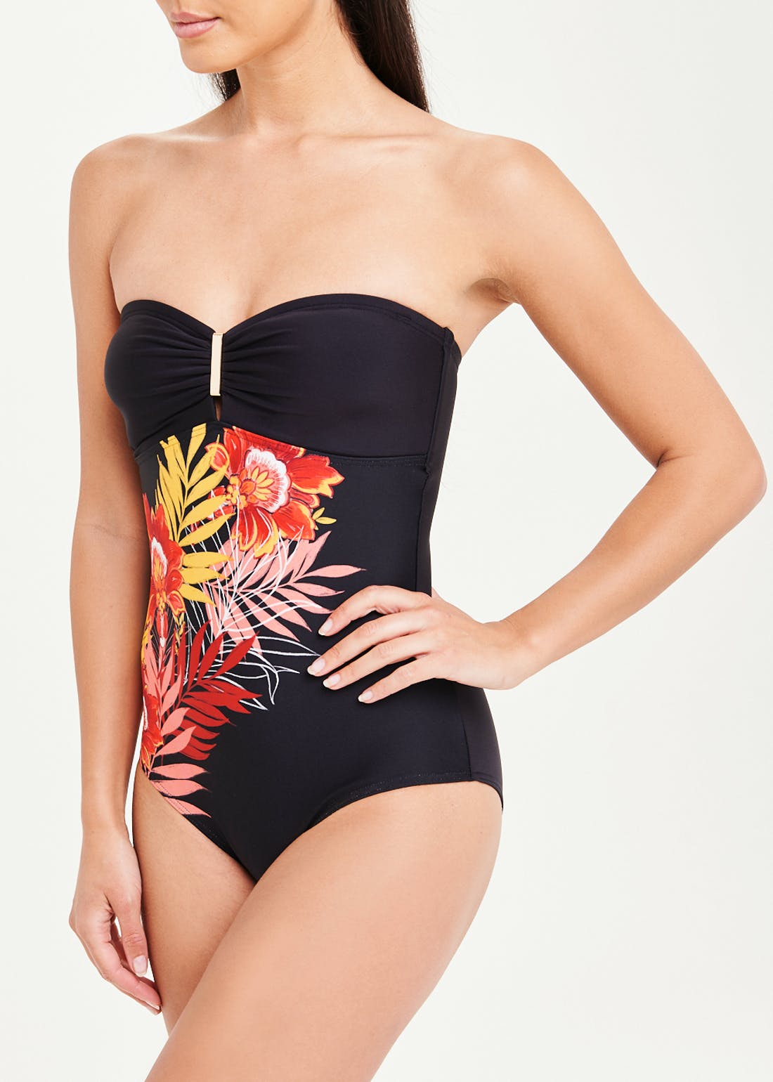 Soon Floral Palm Bandeau Swimsuit
